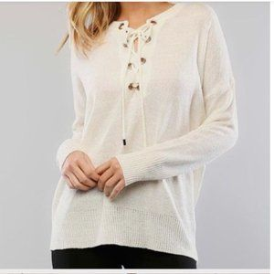 Lumière cream lace-up sweater